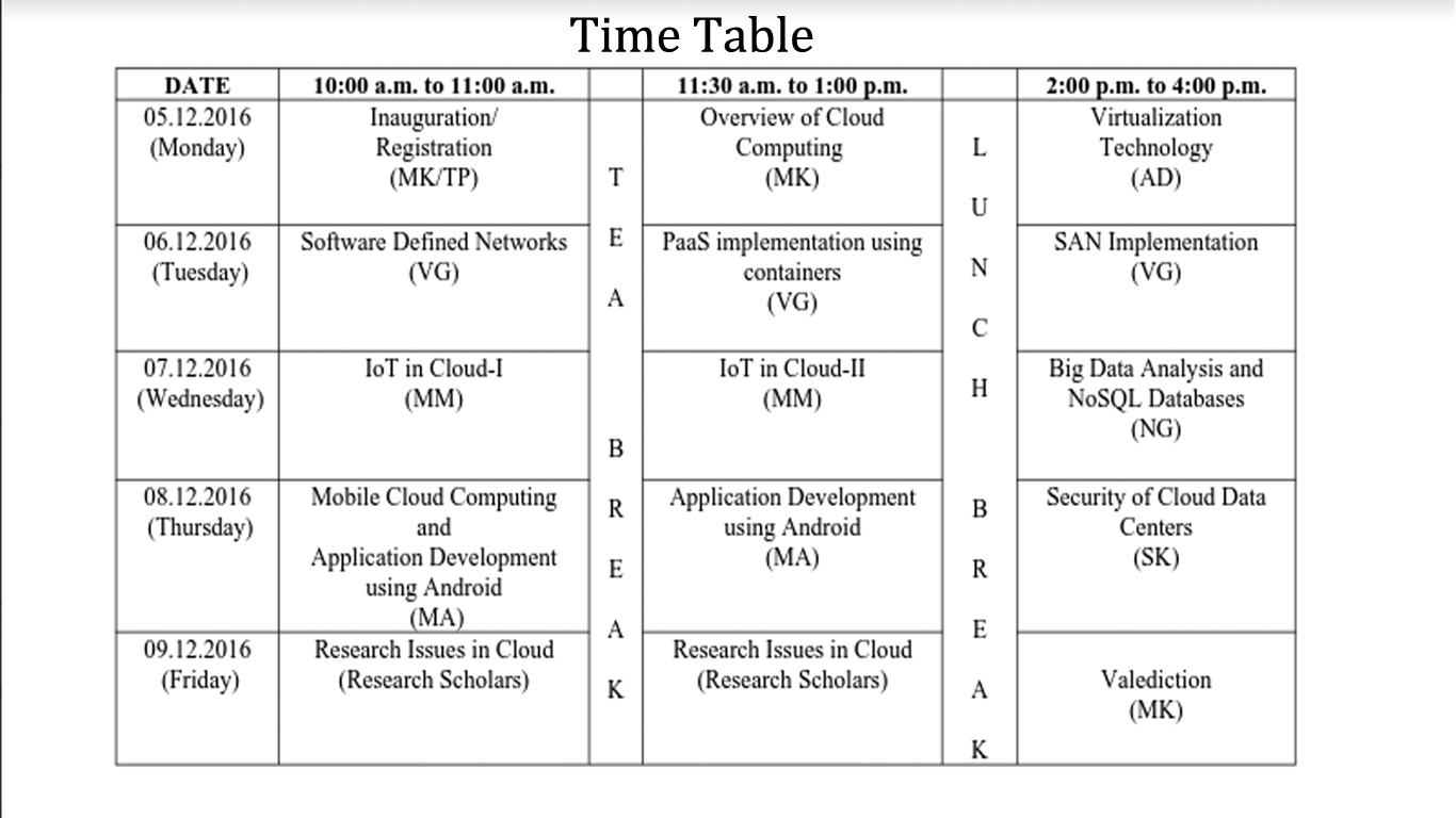 time table stc